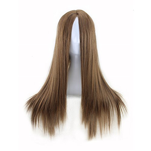 KUPARK 70cm Long Straight Wigs Synthetic Hair Cosplay Anime Costume Wig, Light -
