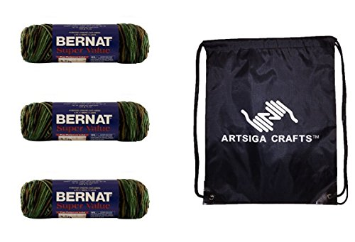 mbre Yarn (3-Pack) Renegade Camouflage 164128-28483 with 1 Artsiga Crafts Project Bag (Bernat Camouflage Yarn)