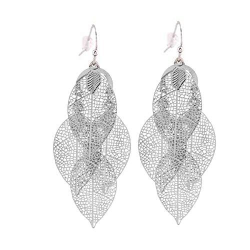 (Grace Jun Bridal Silver Plated 4 Leaf Shape Pierced Dangle Earrings Large Statement Earrings (19 Silver))