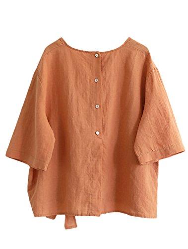 Mallimoda Sciolto Nuovo Tunic Estate Donna Arancia Top Maglietta Moda a4qw7anr6