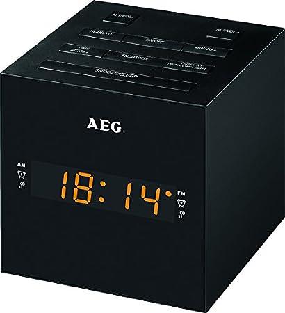 AEG MRC 4150 - Radio Despertador Digital con USB para Carga de móvil (Am/FM/USB/AUX-IN) Color Negro