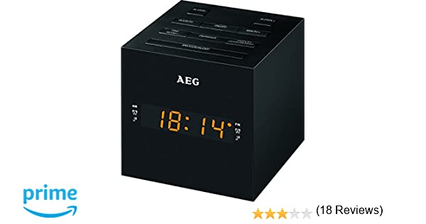 AEG MRC 4150 - Radio Despertador Digital con USB para Carga de móvil (Am/FM/USB/AUX-IN) Color Negro