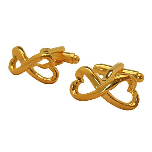 Men's Executive Gold Tone Heart Shape Endless Love Infinity Symbol Cufflinks Cuff Links