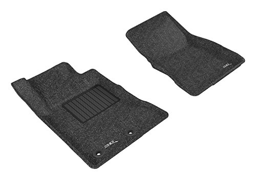 3D MAXpider Front Row Custom Fit Floor Mat for Select Ford Mustang Models - Classic Carpet (Black)