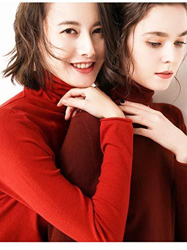 Con Inverno E Vino Corto Maglione Pullover Rosso Má Collo Camicia 2 Maniche Donna 5000 Autunno Lunghe A Alto Alto Maglione qfgpwI1T