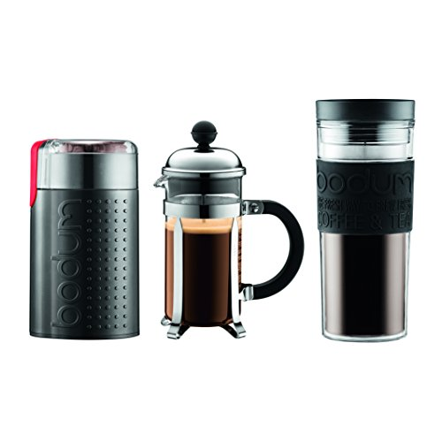 Bodum Chambord Set, French Press 3 Cup Coffee Maker, Electric Coffee Blade Grinder, 15 oz. Travel Mug, , Black (15 Ounce Travel Mug)