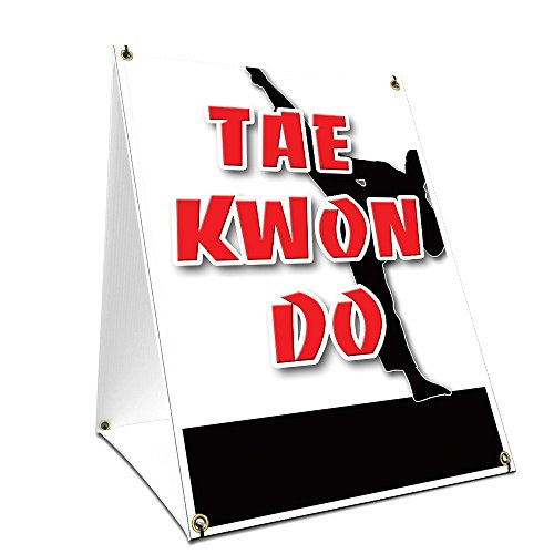 "A-frame Sidewalk Tae Kwon Do Sign With Graphics On Each Side | 18"" X 24"" Print Size from SignMission"