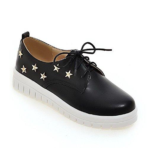 AmoonyFashion Womens Soft Material Lace-up Round Closed Toe Low-Heels Solid Pumps-Shoes Black PKsBikXPUC