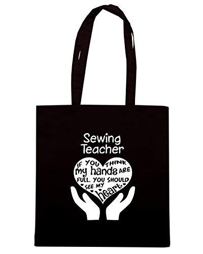 Speed Shirt Borsa Shopper Nera WES0987 PROUD BE A SEWING TEACHER