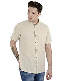 SKAVIJ Men's Khadi Cotton Kurta Shirt Short Sleeve Regular Fit