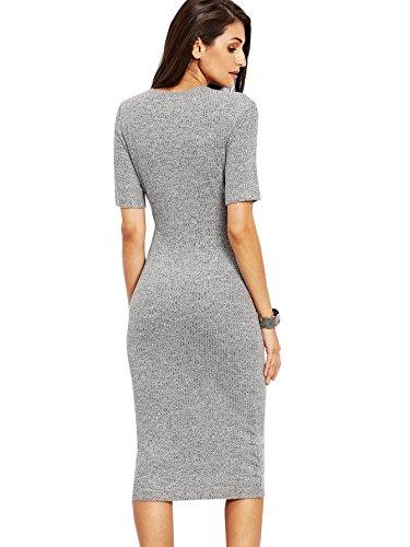 59327cc2 SheIn Women's Short Sleeve Elegant Sheath Pencil Dress