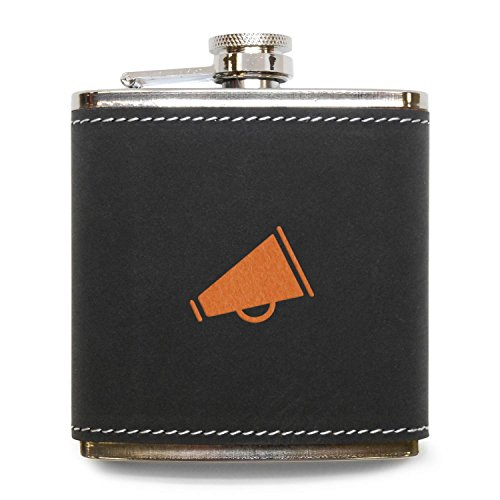 MODERN GOODS SHOP Cheerleader Megaphone Flask - Stainless Steel Body With Grey Leather Cover - 6 Oz Leather Hip Flask - Made In USA