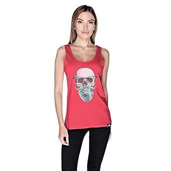 Creo Mint Beard Skull Tank Top For Women - Xl, Pink