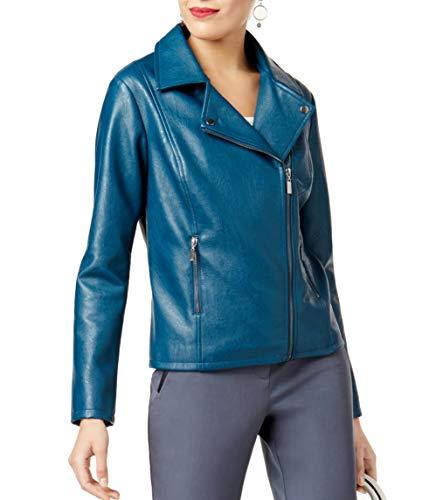 (Alfani Faux-Leather Moto Jacket (Ocean Teal, X-Large) )
