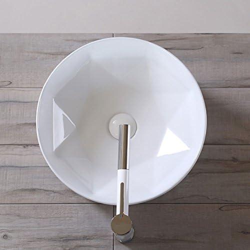 Minmin 浴室セラミック盆地 - ダイヤモンドシリーズ超薄型パーソナリティラウンドカウンター盆地セラミックバスタブアート盆地シンク付き蛇口セット41×41×15センチ 芸術流域
