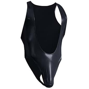 iiniim Men's Faux Leather Lingerie One-Piece Singlet Bodysuit Jumpsuit Underwear Medium Black