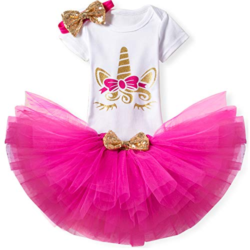 (TTYAOVO Baby Girl Birthday 3pcs Unicorn Outfits with Headband & Romper & Skirts Size 10-18 Months)