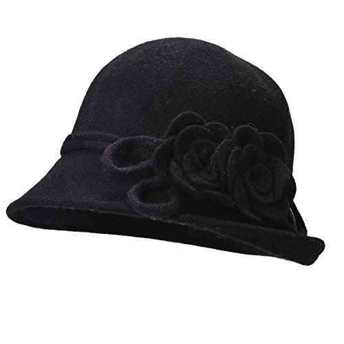 Lawliet Womens Retro Collapsible Soft Knit Wool Cloche Hat Bucket Flower A466 (Black) - Knit Bucket Hat