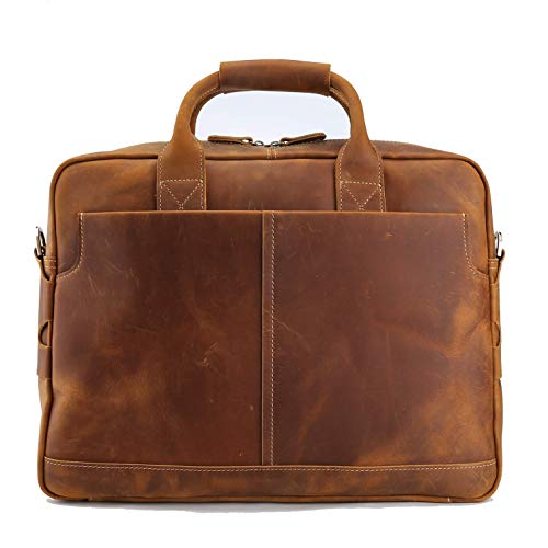 VMATE 16'' Genuine Leather Briefcases for Men Laptop Bag Messenger Bag Shoulder Bag (Light Brown) ()