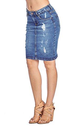 (ICONICC Women's Skinny Distressed Denim Jean Skirt)