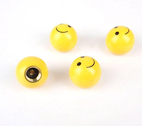MM Sports USA Bicycle [Qty: 1] Set of 4 Yellow Smiley Face Shaped Tire Valve Stems
