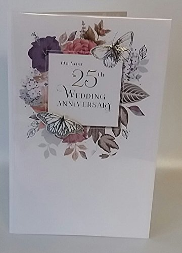 Silver 25th Wedding Anniversary Card 25 Years Together Handmade New Card (Wedding Anniversary Verses For Mum And Dad)