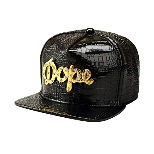 (CRN Men's Fashion Hip Hop Crocodile Skin Snakeskin PU Leather Dope Alloy Adjustable Rhinestone Hat Plain Baseball Cap Black)