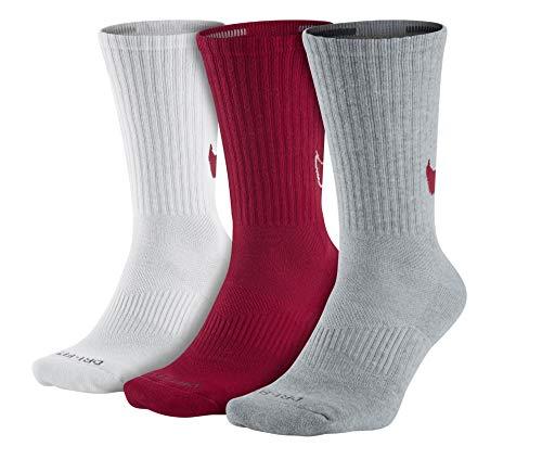 (Nike Unisex Dry Cushion Crew Training Socks (Large (Mens Shoe Size 8-12, Women 6-10), Omega Red/Grey/White))