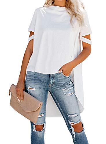 - Asvivid Womens Summer Scoop Neck High Low Asymmetric Short Sleeve Plain Office Tunic Tops Plus Size 2X White