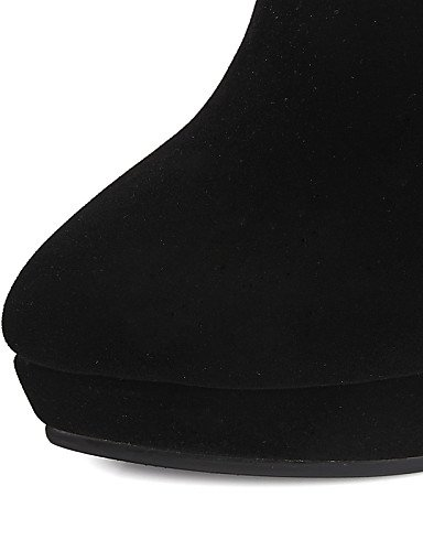 Moda us8 us6 Xzz Eu39 Redonda Tacón Cn39 Uk6 Fiesta Cerrada De Botas Zapatos Mujer Black Uk4 Stiletto Eu36 Negro Noche Vestido A Cn36 Y Vellón Punta Black La qqHSPw