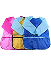 3 Pack Kids Art Smocks Waterproof Children's Artist Painting Aprons with Long Sleeve and 3 Pockets for Age 3-8 Years