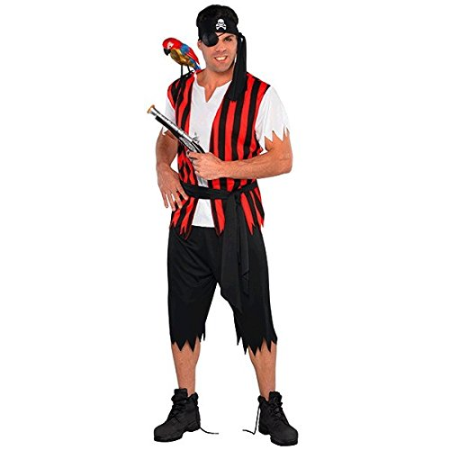 Amscan 844220 Ahoy Matey Fancy Dress Standard Size, Red/Black -