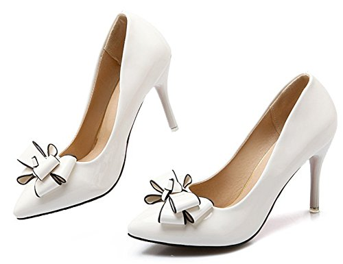 Aisun Womens Pointy Toe Low Cut Dressy Burnished Sexy Slip On High Stiletto Heel Bridal Party Pumps Shoes With Bows White 7jhB0mZ