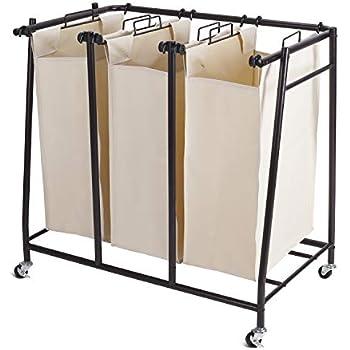 Amazon Com Trinity Tbfz 2102 3 Bag Bamboo Laundry Cart