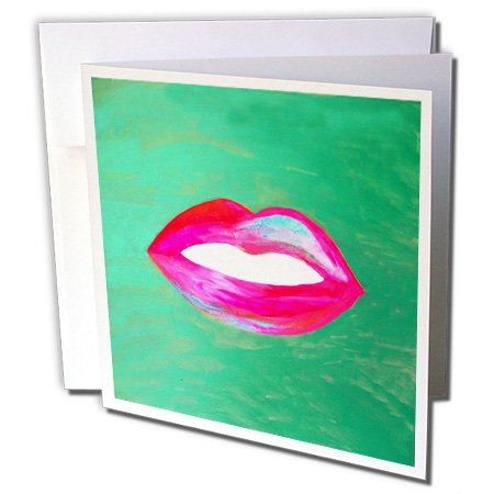 3dRose Hot Pink Red and Blue Lips On Green Mottled Background - Greeting Card, 6