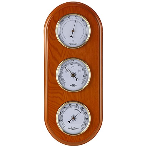 Lily's Home Three-In-One Weather Station | Thermometer, Barometer & Hygrometer Combo; Ideal For Home, Library & Business Use To Monitor Weather Conditions; Fine Oak Finish Unit With Large Brass (Barometer Set)