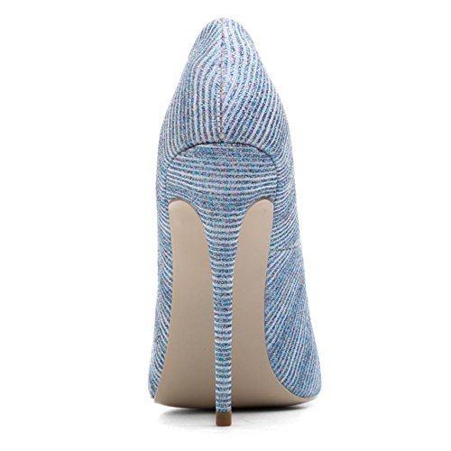 Oro Stiletto Lavoro Tacco Dimensione Inteligente Nvxie Alto Appuntito Donna 40 Blue Blu 7 Scarpe Festa uk Eur eur39uk665 Pompe Tribunale xgq4Rzq