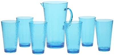 Certified International 7-Piece Hammered Glass Acrylic Hammered Drinkware Set, Teal