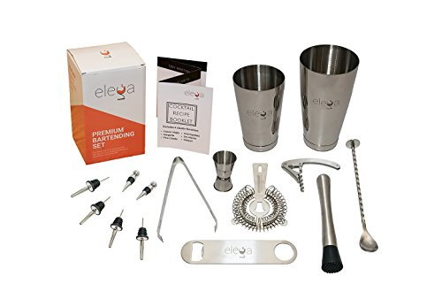 15 Piece Bartender Kit - Complete Mixology Cocktail Shaker Set for Professional Bartending | w/PDF Home Bar Training Course |Essential Bar Tools & Wine Accessories - Boston Shaker, Muddler, Jigger by Elega