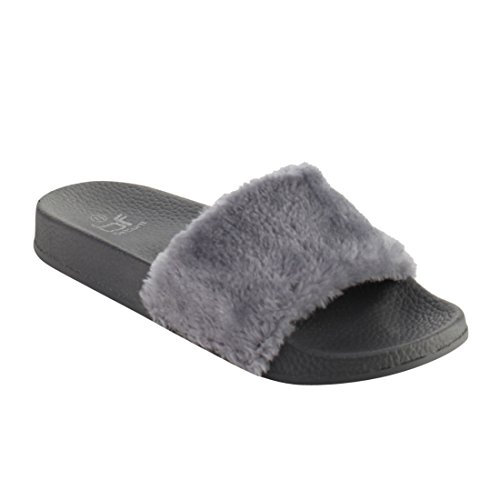 BETANI Womens Farah-1 Furry Slide Sandals Grey Cp51n