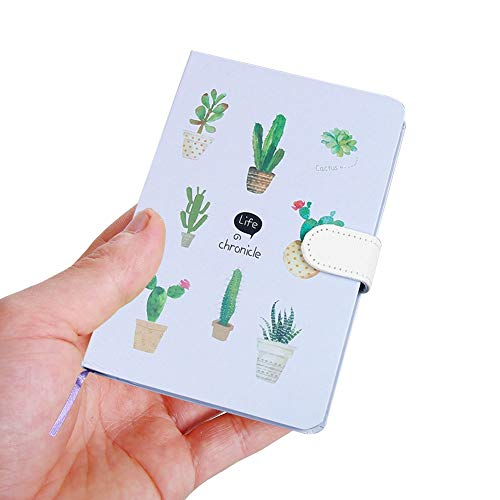 A6 Notebook, Composition Notebooks Journals, Field Pocket Notebook Wide Ruled Paper for Girls Women, 1 Cute Hardcover Note Memo Scratch Pad Journal Notes, Full Printed Cactus Pattern, Pen Loop