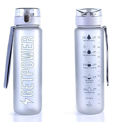 1l Refill Bottle - Water Bottle by Get Power - 32Oz to 1L Motivational Sports Bottle - Portable Travel Bottle - BPA-Free Heavy Duty Tritan - Triple Click Leak-Proof Protection - Real Timeline & Refill Reminder