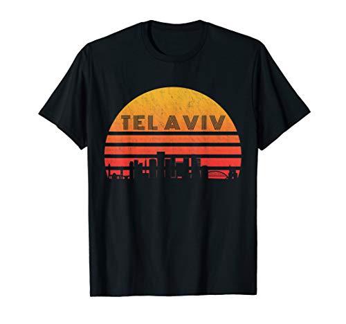 - Vintage Retro Sunset Tel Aviv Israel Skyline T-Shirt