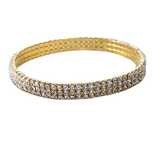 Crystal Rhinestone Ankle Stretch Cz Tennis Ankle Sexy Anklet Bracelet (Gold (3-Row)) ()