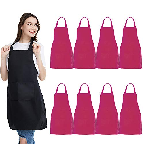 NOBONDO 8 Pack Bib Aprons - Unisex Pink Apron Bulk with 2 Roomy Pockets Machine Washable for Kitchen Crafting BBQ Drawing