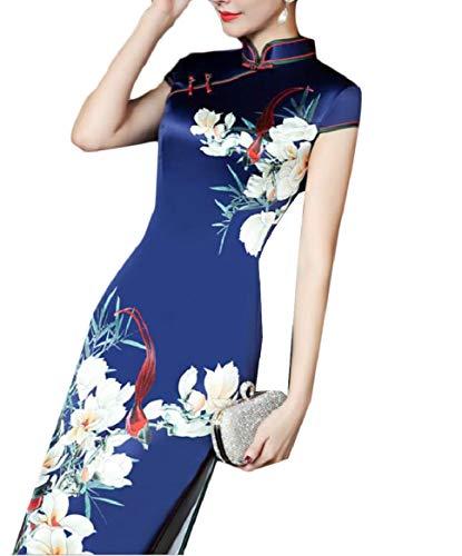 pujingge Womens Stand Collar Chinese Qipao Party Dress Ladies Long Cheongsam 4 XL ()