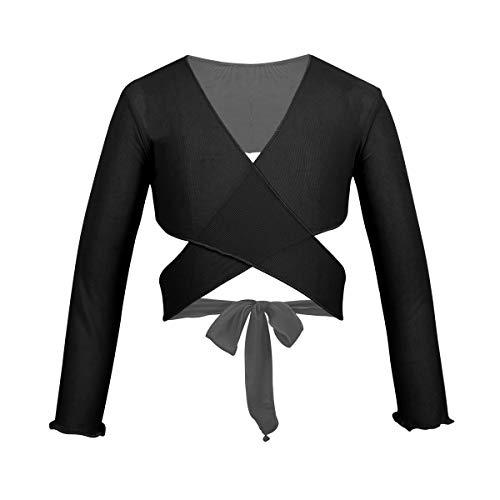 ACSUSS Kids Girls Classic Cotton Long Sleeves Ballet Dance Wrap Top Bolero Short Cardigan Front Knot Shrug Coat Mesh Black 3-4