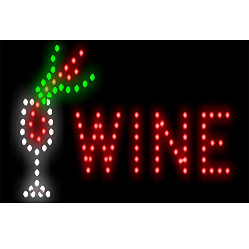 CHENXI New Animated BAR/Beer/Wine/Liquor NEON LED Store Open Sign 19 X 10 Inch (48 X 25 cm) ON Off Switch + Hanging Chain Lots of Styles BAR Beer Pub (48 X 25 cm, WINE-01)