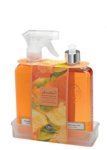 Mangiacotti Clementine Fragrant Surface Cleaner (14.4 oz Pump) & Clementine Natural Kitchen Soap (14.4 oz) with Frosted Glass Tray Gift Set