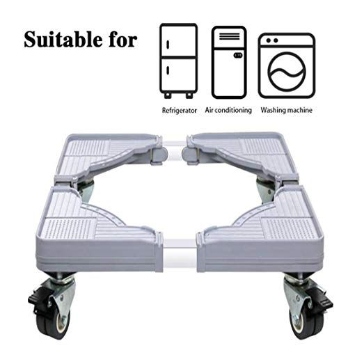 XMZFQ Movable Adjustable Base Stainless Steel Washing Machine Base with 8 Locking Rubber Swivel Wheels for Dryer, Washing Machine and Refrigerator